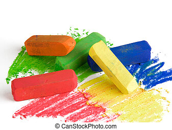 Soft pastels - Soft color pastels on a white background