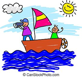 sailing trip - father and son on a sailing voyage together -...