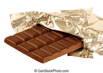 chocolate in foil - chocolate bar half wrapped in silver...
