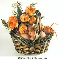 easter basket with eggs - easter basket