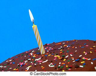 chocolate, cumpleaños, pastel, vela