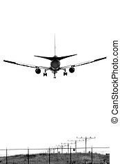 An airplane landing - An airplane landing, BW