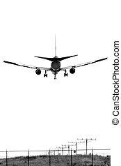 un, avión, aterrizaje