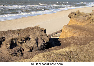 Red cliff - View from the red cliff on the island Sylt in...