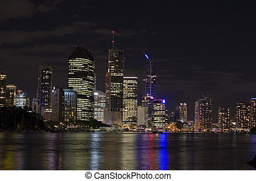 brisbane by night landscape - brisbane city skyline by night