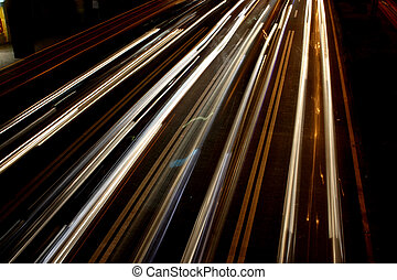 Burred Street Lights - Lines of Burred Car Headlights