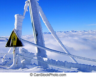 snow landscape - warning signal in a snow landscape