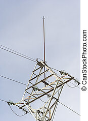 High voltage tower with lightning rod