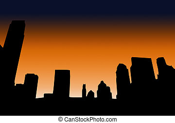City skyline silhouette orange sky