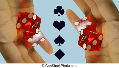 dice pattern - hand holding casino dice with playing card...