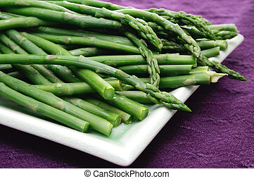 Asparagus - Fresh asparagus on a serving dish