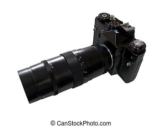 Retro SLR Camera wit Telelense isolated on white background
