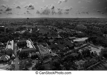 Old City - Pataya city in black and white