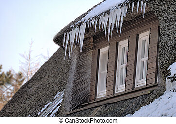 Winter roof 1 - icicles hanging from thatched roof