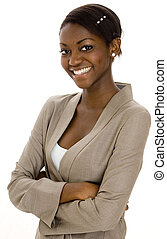 Young Businesswoman - A young black smiling businesswoman on...