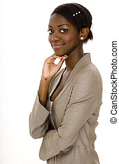 Black Businesswoman - A young black woman in a business suit...