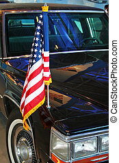US flag on limo - Close up of US flag on limo
