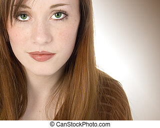 Beautiful Redhead Teen - Beautiful young teen girl with red...