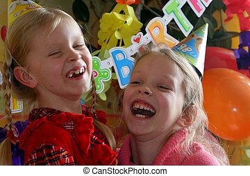 Happy birthday  - Two girls at the birthday party
