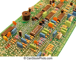 Curcuit board showing various components