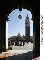 Campanile at St Marks Square in Venice Italy