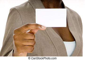 Blank Business Card - A woman holds up a blank business card