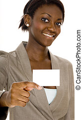 Woman Holding Business Card - A young black woman holds up a...