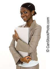 Happy Student - A smart young black student carrying a...