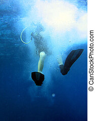 Let\\\'s dive! - Scuba diver entering water