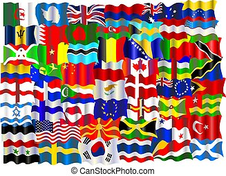 flag montage - montage of world flags