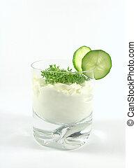 yogur, pepino, Berro