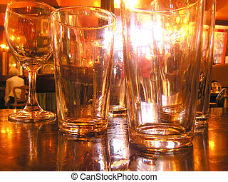 Pub - Empty glasses in a pub