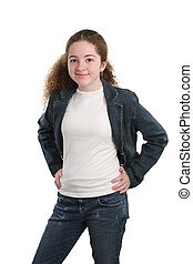 Casual Teen In Denim - A casual teen girl modeling denim and...