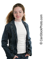Cool Teen In Denim - A cute teen girl wearing a white shirt...