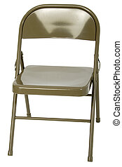 Metal Folding Chair - Metal folding chair over white.