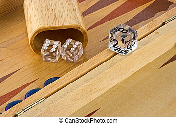 Backgammon board with a roll of double sixes.
