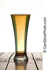 Beer - beer in glass with white background