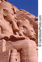 Abu Simbel Temple - Ramses II\\\'s statues at the entrance...