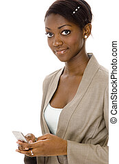 Woman Messaging - A young black woman sends a message with...