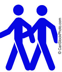Same Sex Male - Two stick figures representing two men arm...