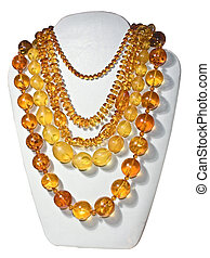 Amber bead necklaces - Necklaces with amber beads, clipping...