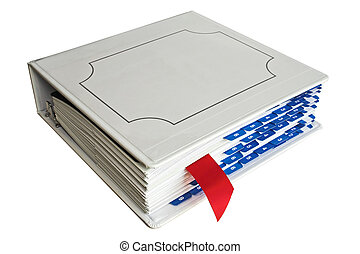 Binder with bookmark - Binder with red bookmark and blue...