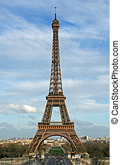 The Eiffel tower as seen from the Trocadero square - Paris,...