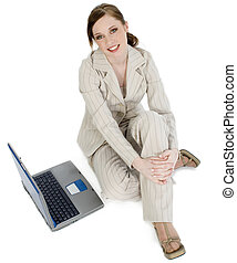 Business Computer - Beautiful young business woman in suit...