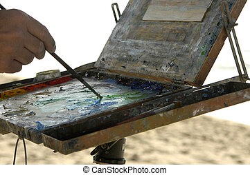 Painting at the Beach - Close up of oil colors on...