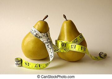 CAT 0027 Dieting Pears - Two pears with measuring tape tie...
