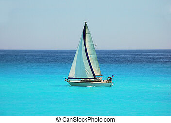 Sailing in the blue Mediterranean