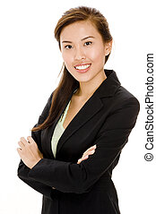 Business Woman - A chinese woman in business suit on white...