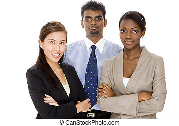 Diverse Teamwork - A diverse business team of two women and...