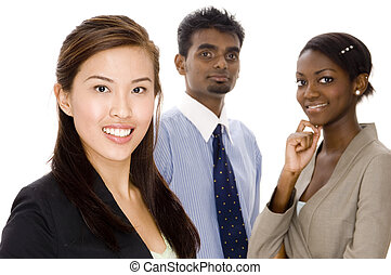 Dynamic Business Team - A young asian businesswoman standing...